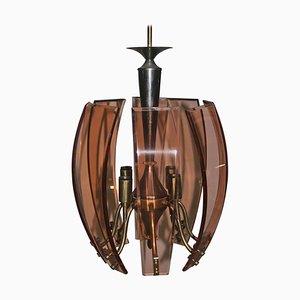 Lámpara de araña de cristal curvado y latón, años 50