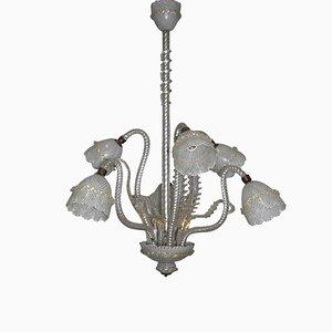 Lámpara de araña de cristal de Murano Reticello, años 40