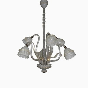 Reticello Murano Glass Chandelier, 1940s