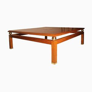 Table Basse Vintage en Laiton et Marronnier par Tommaso Barbi, 1970s