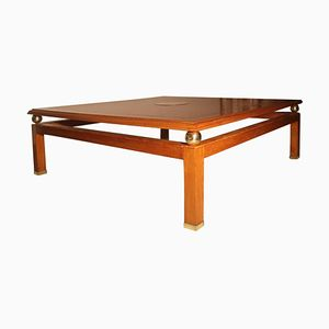 Vintage Brass & Chestnut Coffee Table by Tommaso Barbi, 1970s
