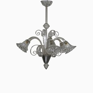 Lámpara de araña vintage de cristal de Murano, años 40