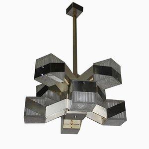 Lámpara de araña modernista cúbica, años 70