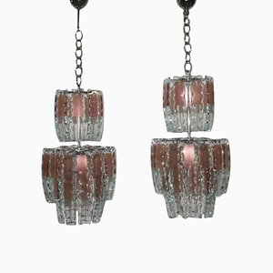 Curved Glass Chandeliers, 1970s, Set of 2