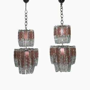 Lámparas de araña de vidrio curvado, años 70. Juego de 2
