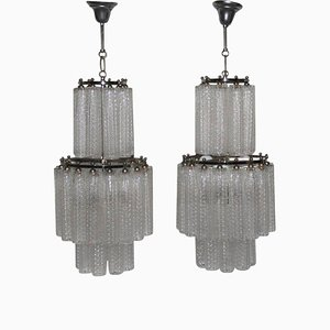 Murano Glass Chandeliers from Venini, 1960s, Set of 2