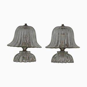 Lámparas de mesa de cristal de Murano de Barovier & Toso, años 40. Juego de 2