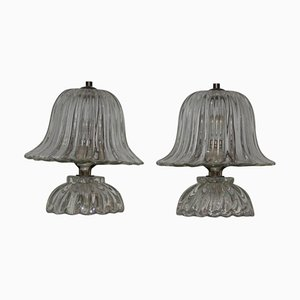 Murano Glass Table Lamps from Barovier & Toso, 1940s, Set of 2