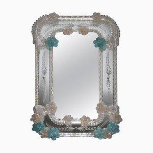 Espejo de mesa de cristal de Murano de Seguso, años 50