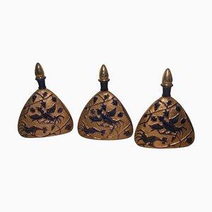 Gold-kobaltblaue Keramikflasche, 1950er