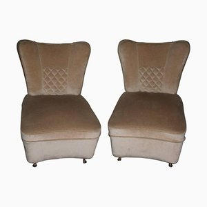 Vintage Velvet & Brass Lounge Chairs, Set of 2