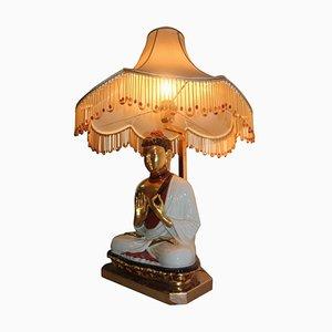 Lámpara Buddha italiana vintage de porcelana con pantalla de tela, años 70