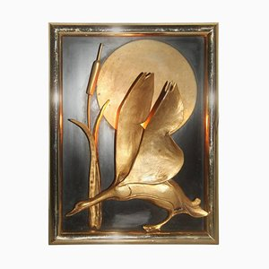 Vintage Solid Brass Duck Sculpture Wall Sconce, 1970s