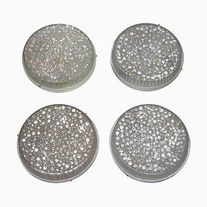 Apliques Mid-Century de latón y cristal burbuja, años 60. Juego de 4