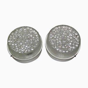 Apliques de metal lacado y cristal burbuja, años 60. Juego de 2