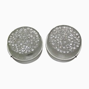 Lacquered Metal & Bubble Glass Sconces, 1960s, Set of 2
