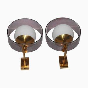 Apliques vintage de plexiglás, latón y vidrio de Stilux. Juego de 2
