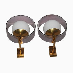 Applique vintage in plexiglas, ottone e vetro di Stilux, set di 2