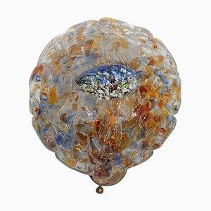 Aplique de pared de latón y cristal de Murano artístico, años 50
