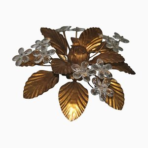 Mid-Century Deckenlampe aus vergoldetem Metall & Kristallglas
