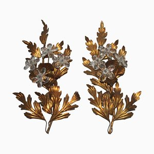 French Sculptural Metal Sconces, 1950s, Set of 2