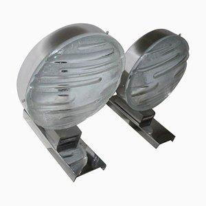 Apliques de pared vintage de acero y vidrio grabado. Juego de 2