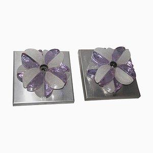 Fliederfarbene Wandleuchten aus Glas von Albano Poli für Poliarte, 1970er, 2er Set