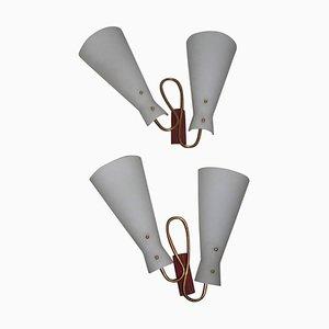 Italienische Mid-Century Wandlampen aus Messing & Glas, 1950er, 2er Set