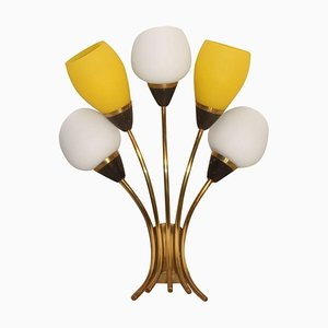 Large Italian Sconce in Brass & Glass, 1950s