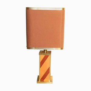 Vintage Wood & Brass Table Lamp, 1970s