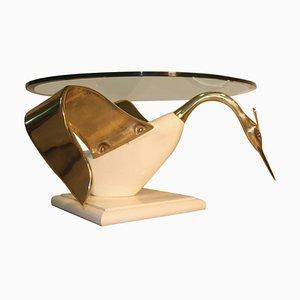 Italienischer Couchtisch mit runder Tischplatte & Gestell in Schwanen-Optik, 1970er
