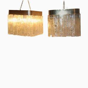 Lámparas de techo vintage de cristal de Murano de Mazzega, años 70. Juego de 2