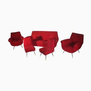 Rote italienische Mid-Century Wohnzimmergarnitur von Gigi Radice, 1950er