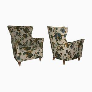 Italienische Mid-Century Sessel mit floralem Stoffmuster, 2er Set