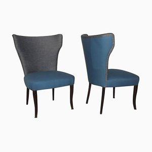 High Back Chairs, 1950s, Set of 2