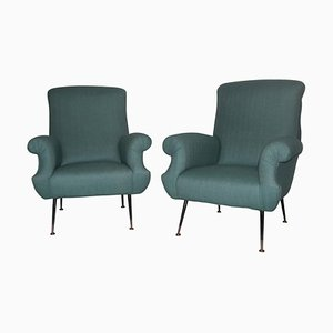 Mid-Century Italian Green Armchairs, Set of 2