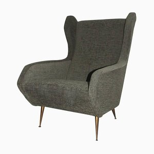 High Back Armchair with Geometric Design, 1950s
