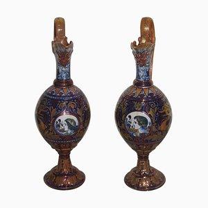 Italian Enamel Amphora Vases, 1940s, Set of 2