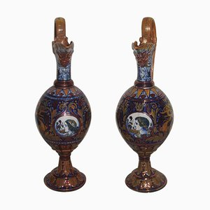 Vases Amphore en Émail, Italie, 1940s, Set de 2