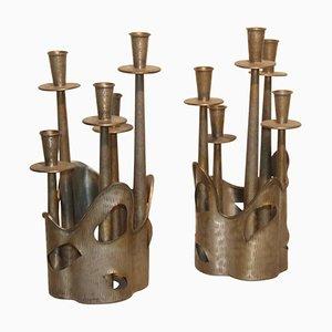 Brutalistische Kerzenhalter aus Zinn von Ceccherini, 1950er, 2er Set