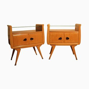 Mid-Century Italian Maple Nightstands, 1950s, Set of 2