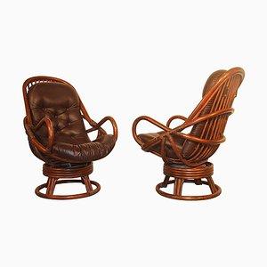 Drehsessel mit Gestell aus Rattan & Sitz aus Leder, 1960er, 2er Set