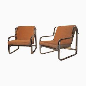 Italian Minimalist Armchairs, 1970s, Set of 2