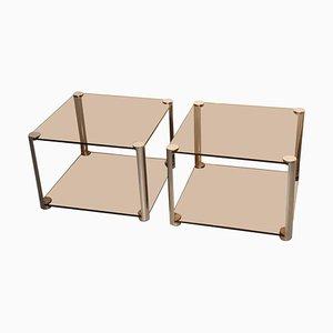 Mesitas de noche Alberto Rosselli minimalistas, años 60. Juego de 2