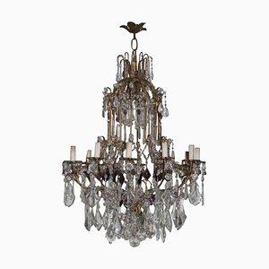 Lámpara de araña francesa grande de cristal, años 40