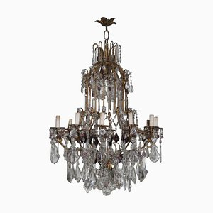 Large French Crystal Chandelier, 1940s