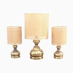 Vintage Brass Table Lamps, 1970s, Set of 3