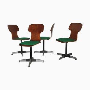 Sillas de escritorio vintage de madera curvada de Carlo Ratti, años 50. Juego de 4