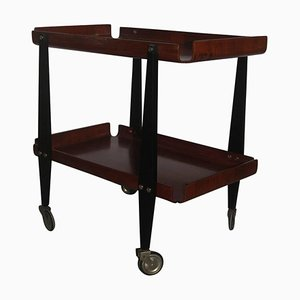Vintage Italian Curved Wooden Bar Cart by Carlo Ratti