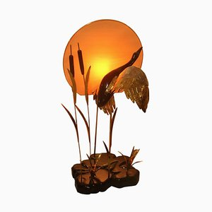 Italian Lacquered Wood Sunset Floor Lamp, 1970s